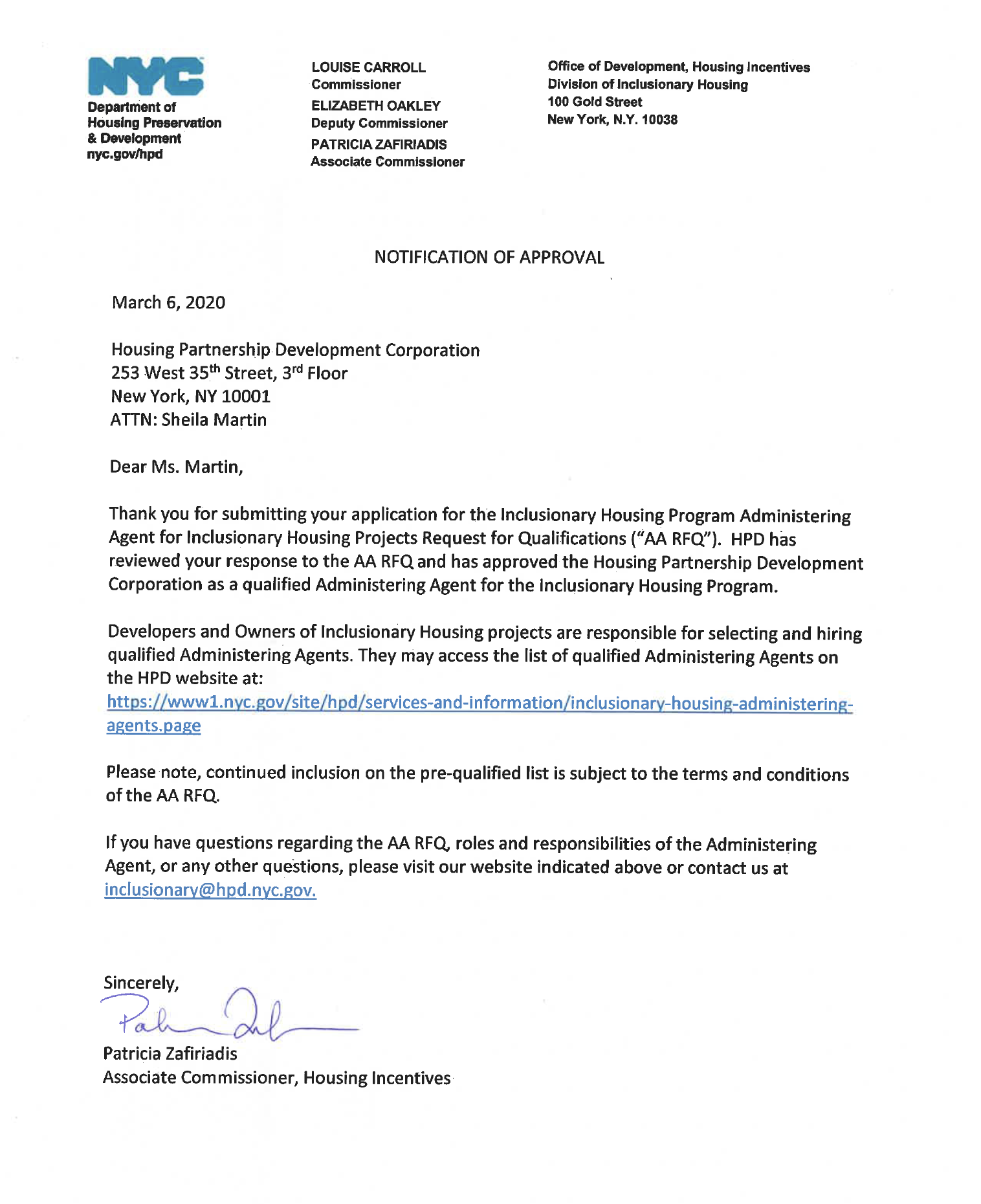 Inclusionary Housing Approval Letter